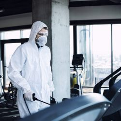 Gym disinfection of fitness equipment.